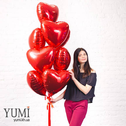 Фольгированные шары сердца с гелием на 14 февраля, фото 2