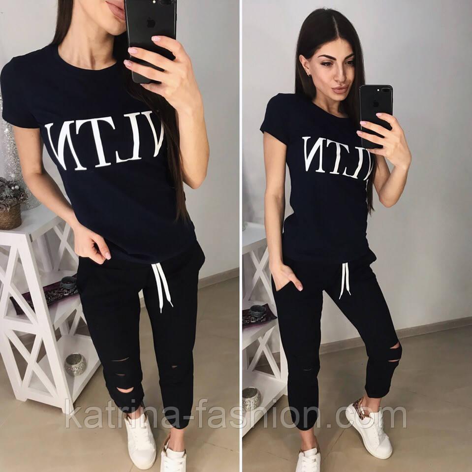"""Женский стильный костюм """"VLTN"""": футболка и капри в расцветках (расцветки)"""