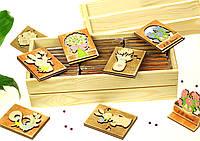 """Корпоративные подарки на 8 марта коллегам """"Деревянные открытки коллегам"""" 30шт. в декоративном деревянном ящике"""