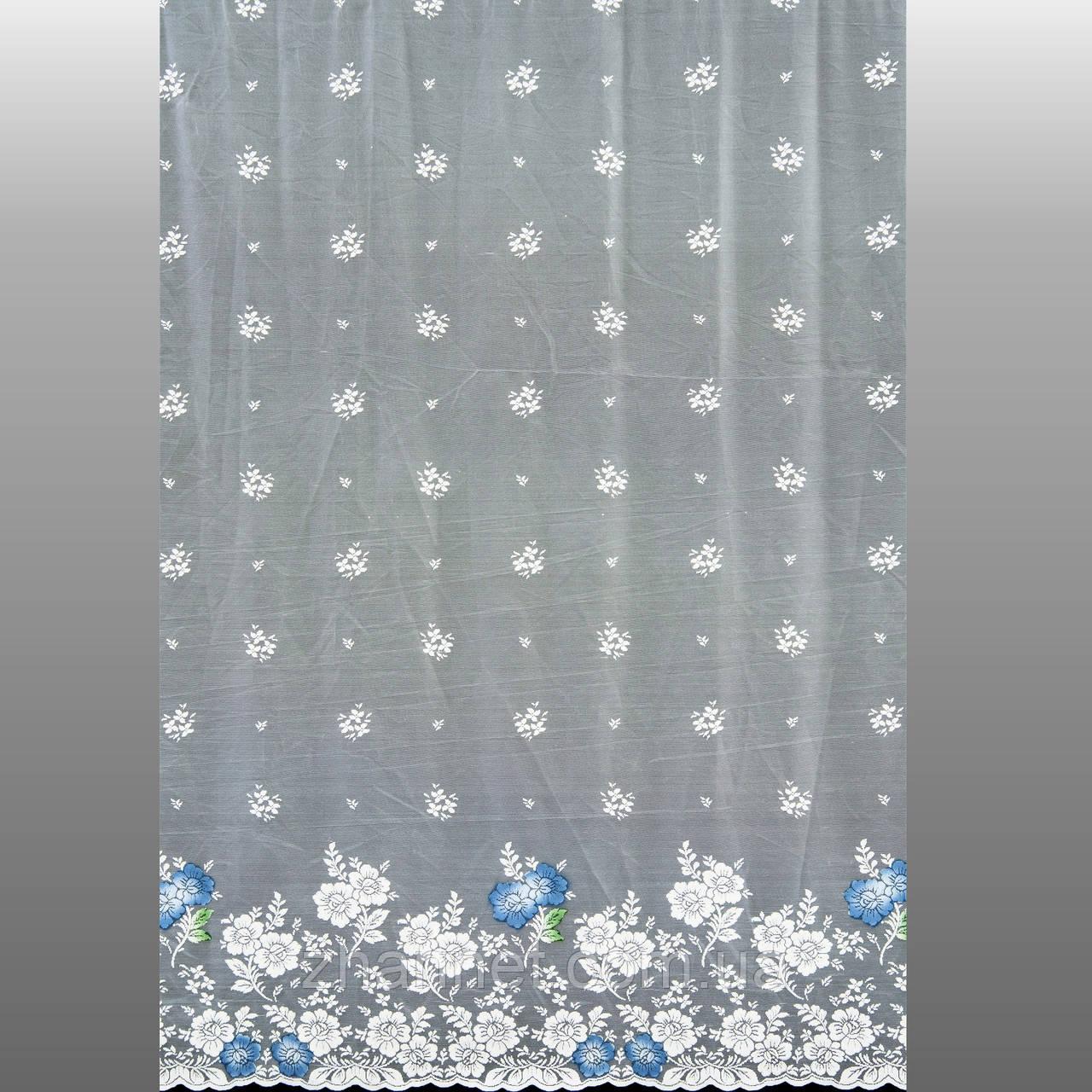 Тюль гипюр Ромашки голубой 180 см (362411)