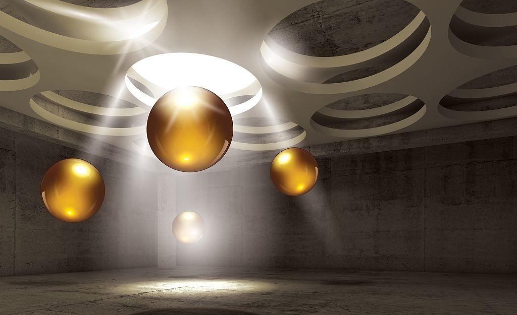Фотообои готовые Wizard+Genius 368x254 см Желтые шары (3319CN)