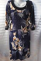 Платье с цветочным принтом женское батальное (масло)