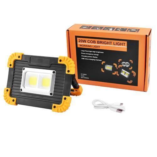Светодиодный прожектор 20W-COB+1W+Power Bank LL812