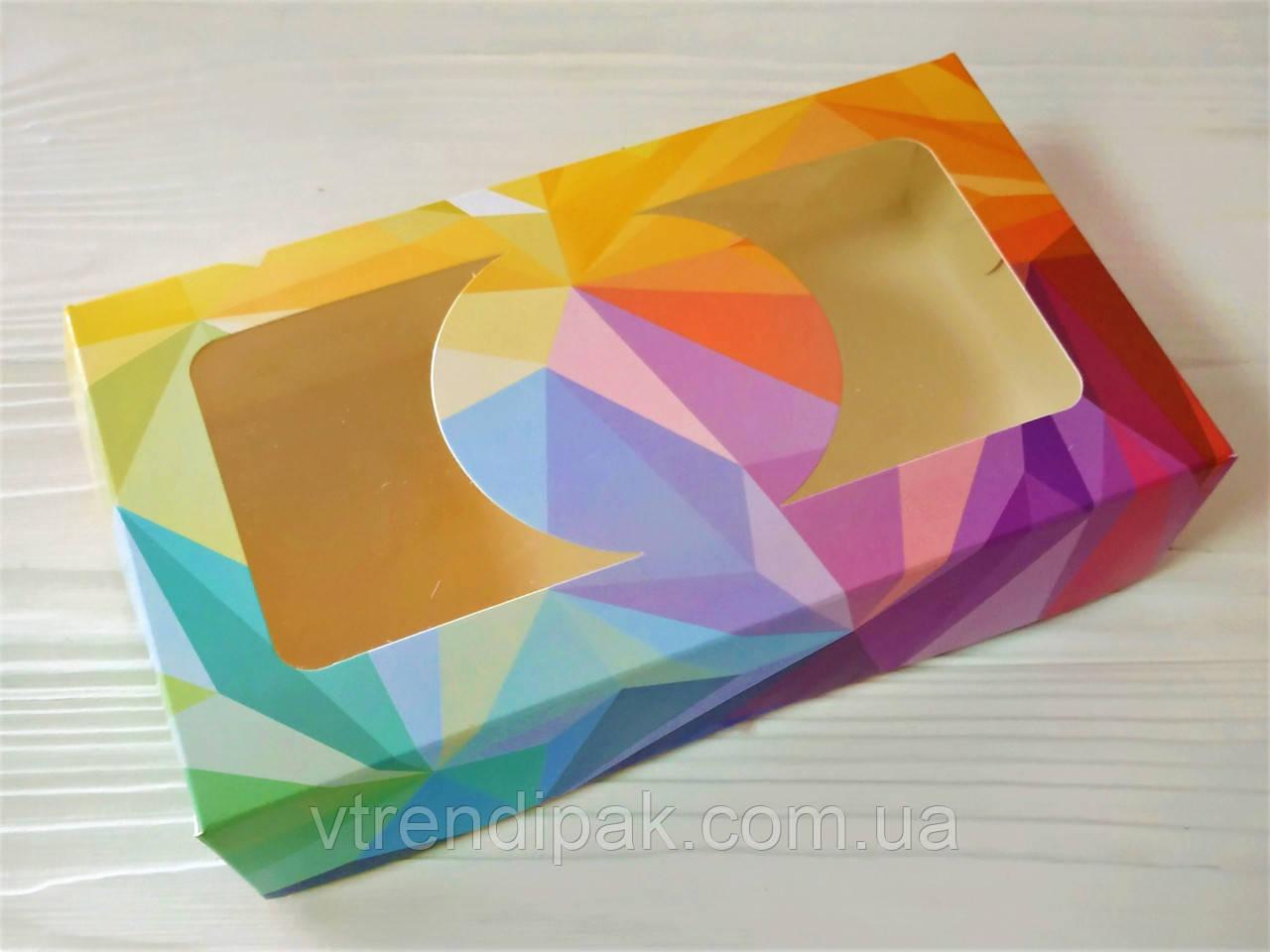 """Коробка """"МОЗАЇКА"""" для  зефіру, десертів, тістечок, еклерів 200*115*50 з мелов.картону з вікном ПВХ-плівка"""
