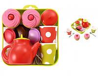 Игрушечный набор для чаепития с пирожеными на подносе