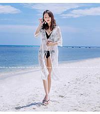 Пляжная туника. Белая. Кружево, фото 3