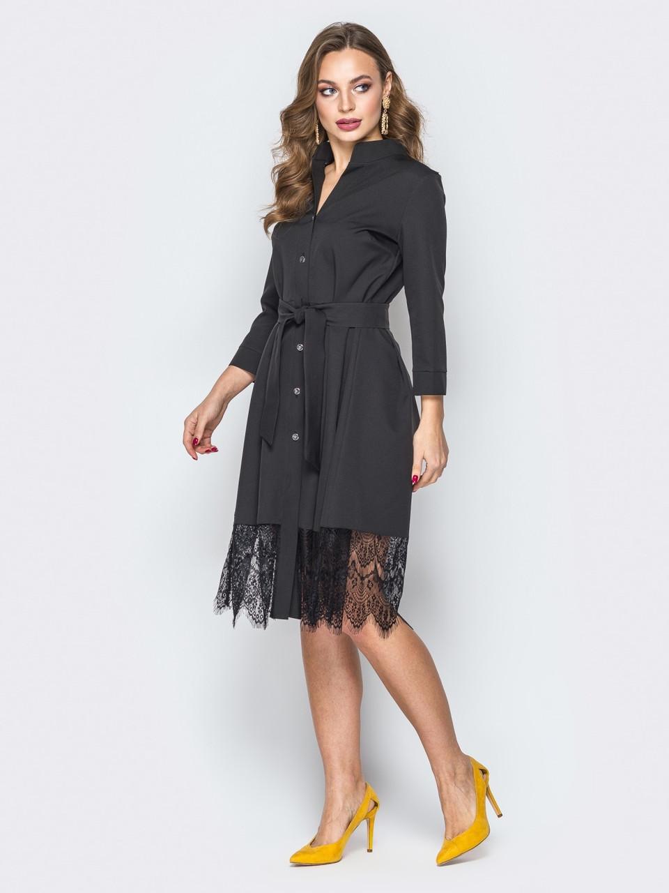 53a47feb08f Нарядное женское черное платье-рубашка с кружевом р.42