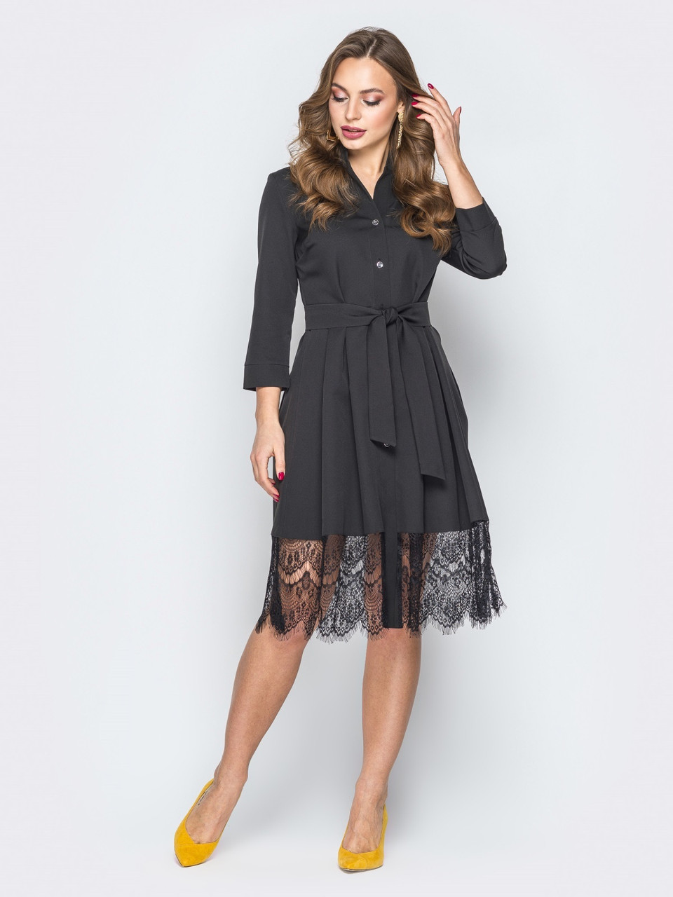 f860bbd7cd8e31e Нарядное женское черное платье-рубашка с кружевом р.42,44,46,48,50 ...