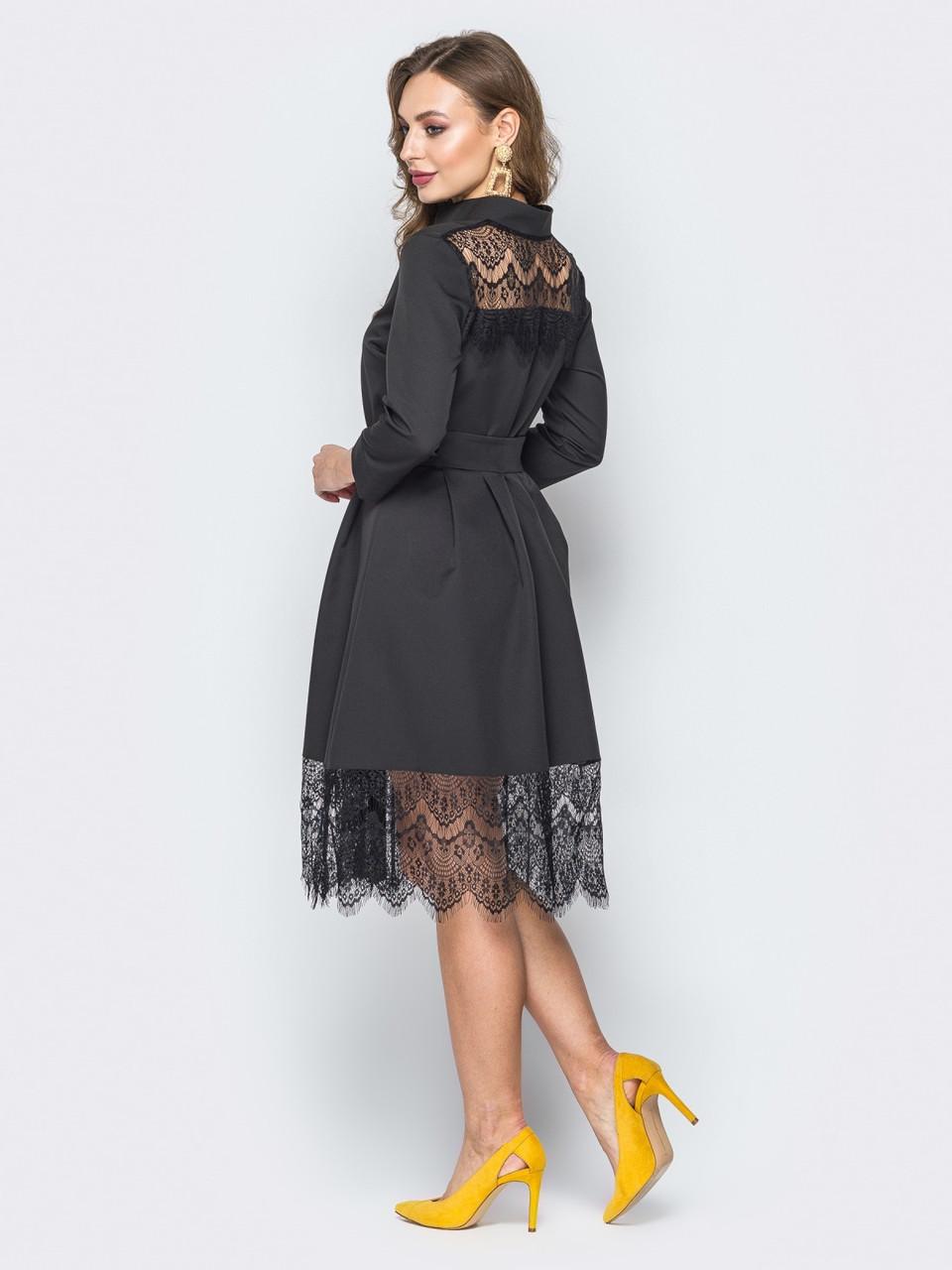 5e385823ecb ... Нарядное женское черное платье-рубашка с кружевом р.42