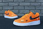 Кроссовки Nike Air Force 1 Low Just Do It, оранжевые, фото 8