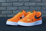 Кроссовки Nike Air Force 1 Low Just Do It, оранжевые, фото 9