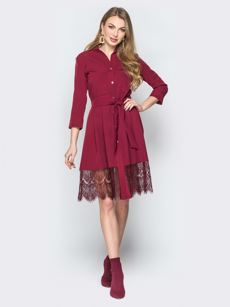 728072103e9e228 Красивое нарядное бордовое платье-рубашка с кружевом р.42,44,46,48 ...