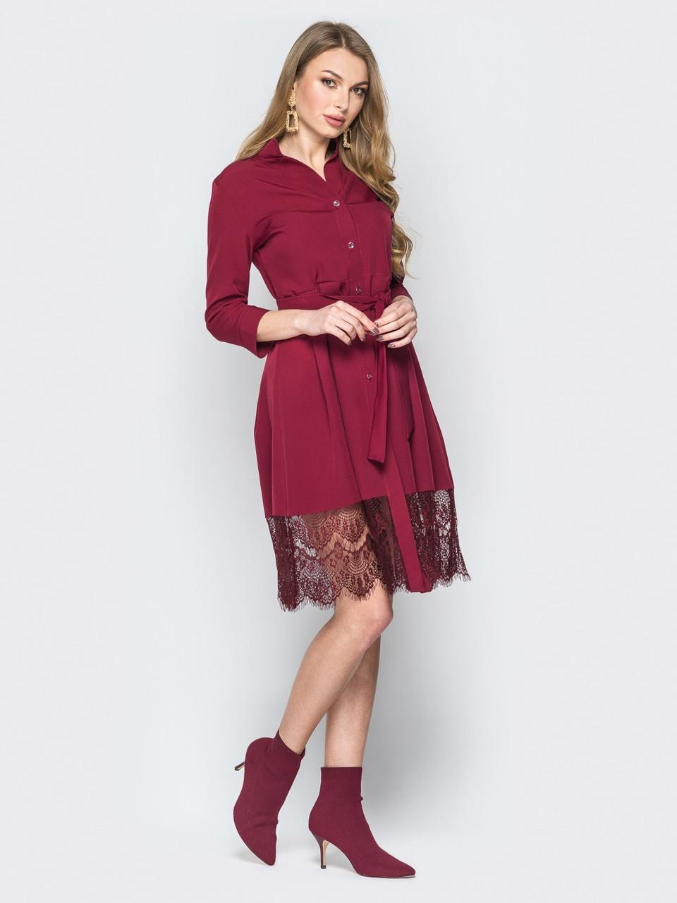 9bbf17d1ad7 Красивое нарядное бордовое платье-рубашка с кружевом р.42