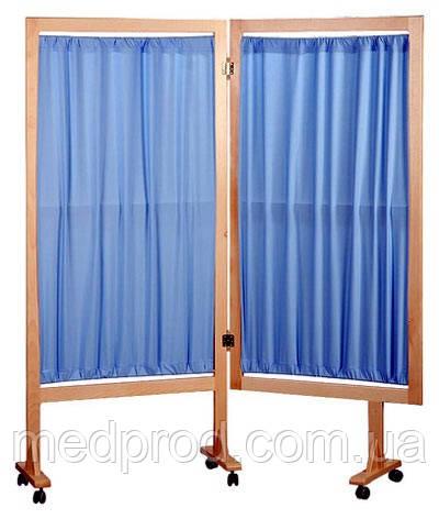 Ширма 2-х секционная передвижная, деревянная конструкция, синее полотно