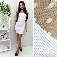 79bafe12f02 Стильное белое платье облегающего силуэта с отделкой из сетки