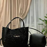 Женская сумка Zara/Michael Kors черная с косметичкой Код3884-1