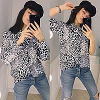 9c76c2474c3 Красивая женская блузка рубашка с длинным рукавом серый леопардовый принт S  M L