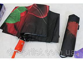 "Зонт автомат в 3 сложения ""Роза розовая"", атлас / Monsoon, фото 2"