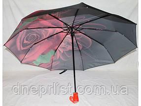 "Зонт автомат в 3 сложения ""Роза розовая"", атлас / Monsoon, фото 3"
