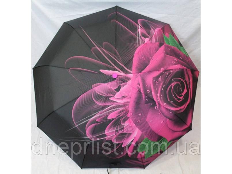 """Зонт автомат в 3 сложения """"Роза розовая"""", атлас / Monsoon"""