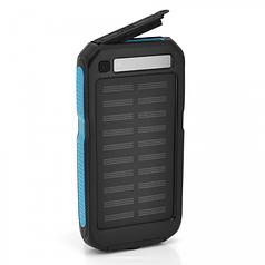 Power bank 12000 mAh Solar, (5V/200mA), 2xUSB, 5V/1A/2,1A, USB microUSB, ударо защищеный прорезиненный корпус, Black/Blue, Corton BOX (RH-12000N5)