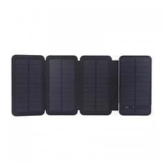 Power bank 10000 mAh Solar, (5V/200mA), 2xUSB, 5V/1A/2,1A, 6W, USB microUSB, ударо защищеный прорезиненный корпус, Black, Corton BOX (DS-2122)