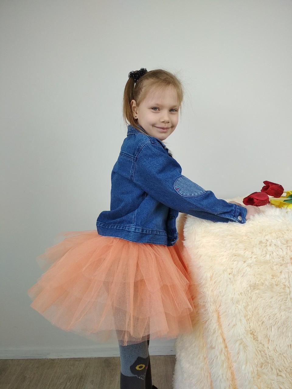 Многослойная юбка из фатина персикового цвета 3-9 лет