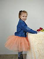Многослойная юбка из фатина персикового цвета 3-9 лет, фото 1