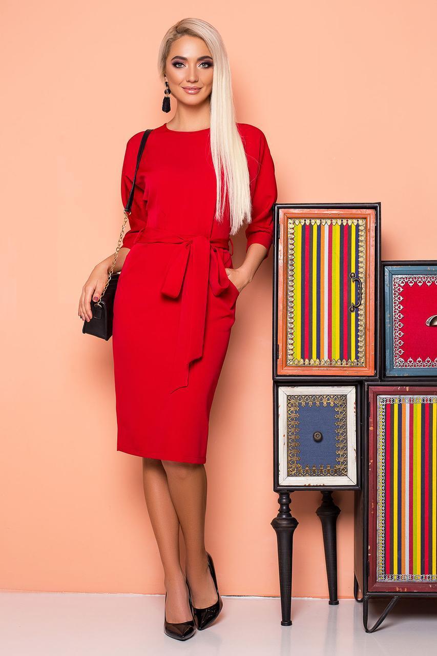 fff6ac357df Красное Платье Миди Элегантное с Поясом и Цельнокроеным Рукавом — в ...