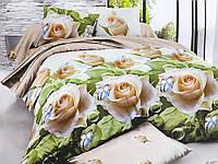 Двуспальное постельное белье Бязь Ранфорс Ranforse 100 % хлопок - БЕЛЫЕ РОЗЫ И БАБОЧКИ