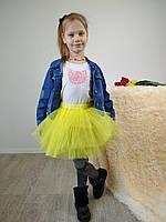 Желтая юбка для девочки из фатина 3-9 лет