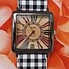 Женские наручные часы квадратные с браслетом (клетка темная)