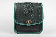 Женская кожаная сумка ручной работы (метод горячего тиснения), зеленая сумка, фото 1