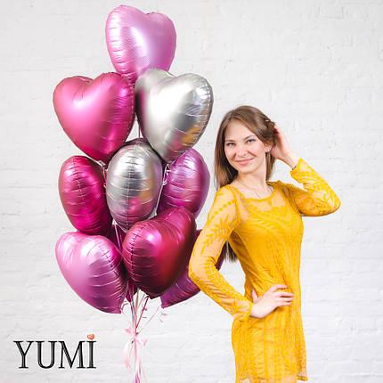Стильная связка из матовых шаров сердец с гелием для девушки на День Влюбленных, фото 2