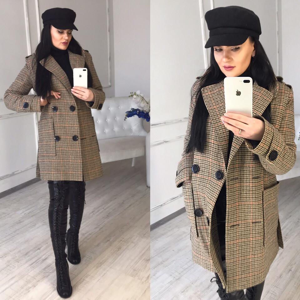 Женское демисезонное Пальто прямое двубортное 58lt168