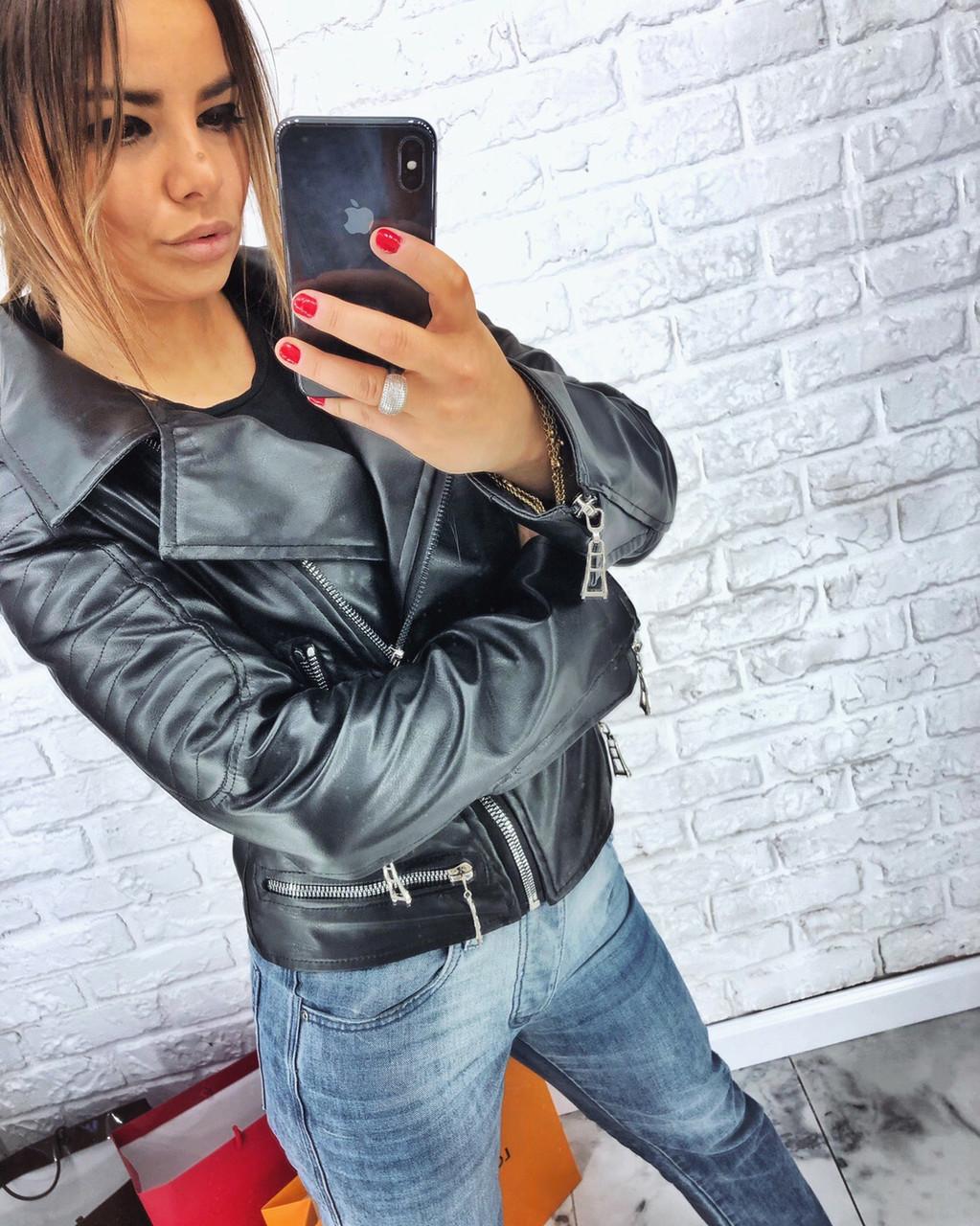 Женская кожаная куртка косуха однотонная и с принтом 3ki193