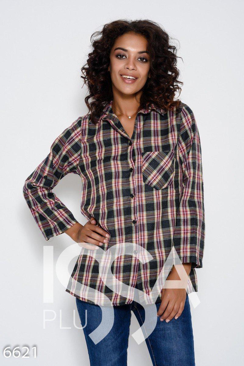 6410f35dc7a Серо-розовая байковая рубашка с принтом в виде шотландской клетки с  хлястиками на рукавах -
