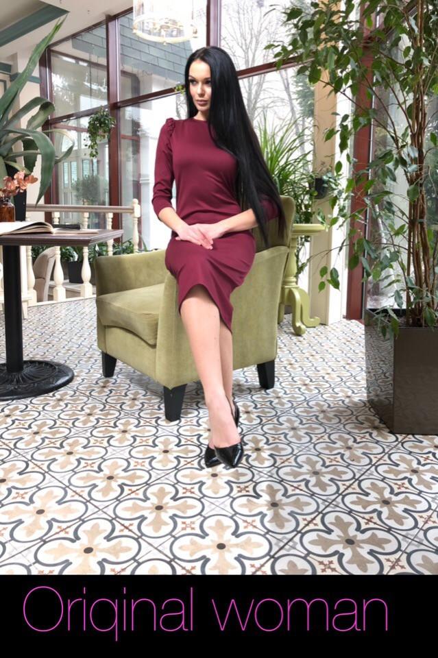 Приталенное платье из трикотажа длиной ниже колена 2ty2416