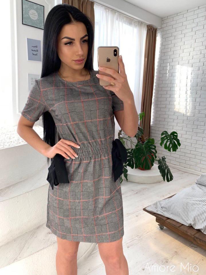 Трикотажное клетчатое платье с коротким рукавом 73ty2418