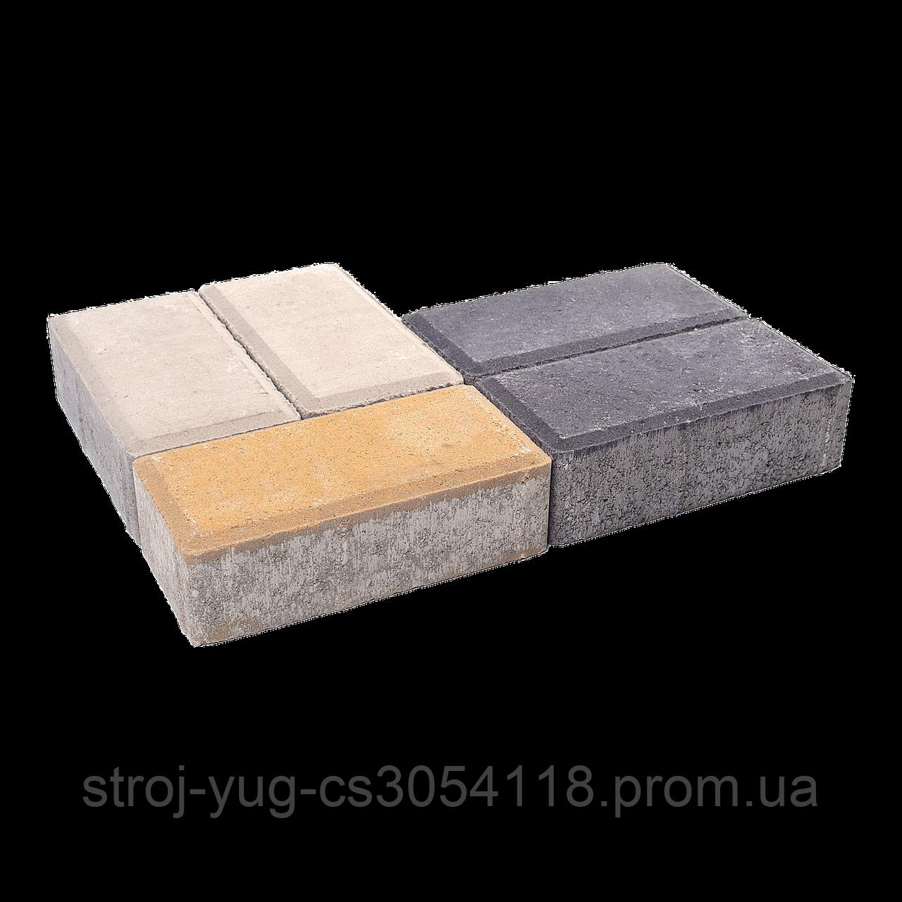 Тротуарная плитка «Брусчатка», оливковый, 60 мм, заводское качество