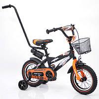"""Детский двухколесный велосипед  """"S600 HAMMER"""" Колёса 12''х2,4' Черно-оранжевый"""