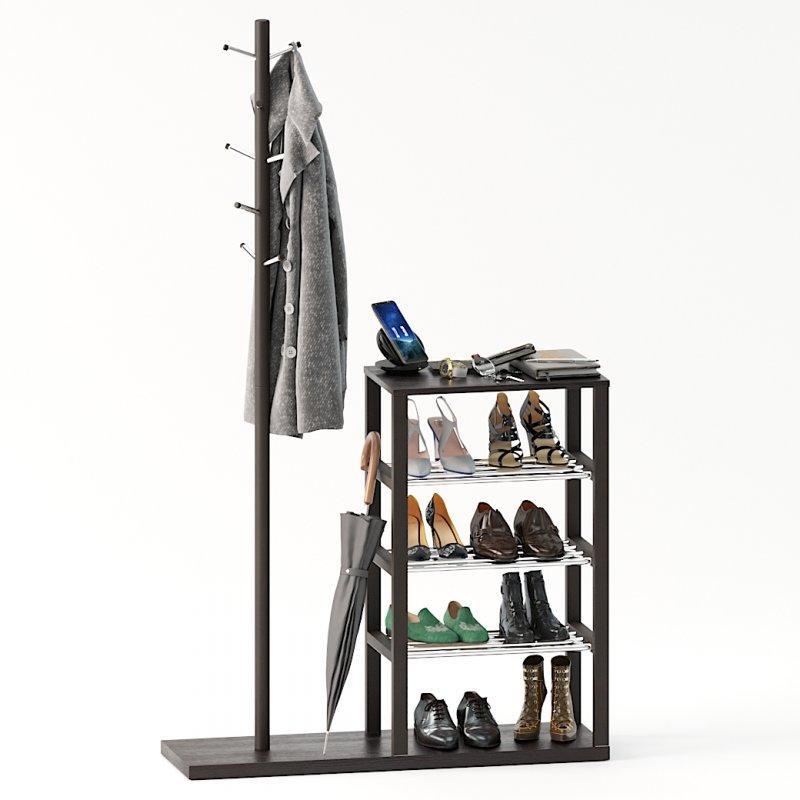 Напольная вешалка с полкой для обуви «Канзас», фото 1
