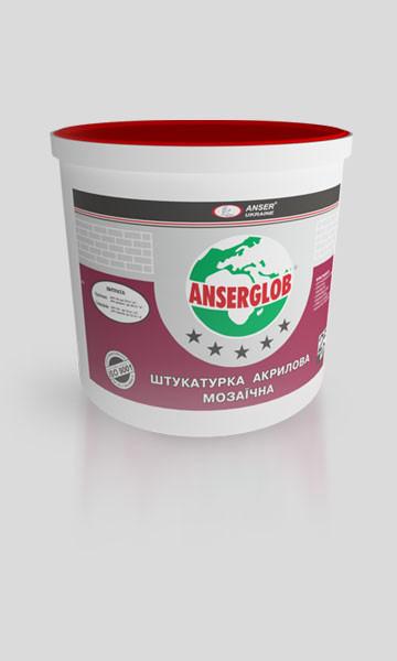 Декоративная мозаичная акриловая штукатурка для цоколя ANSERGLOB (цвета G, GN) 25 кг