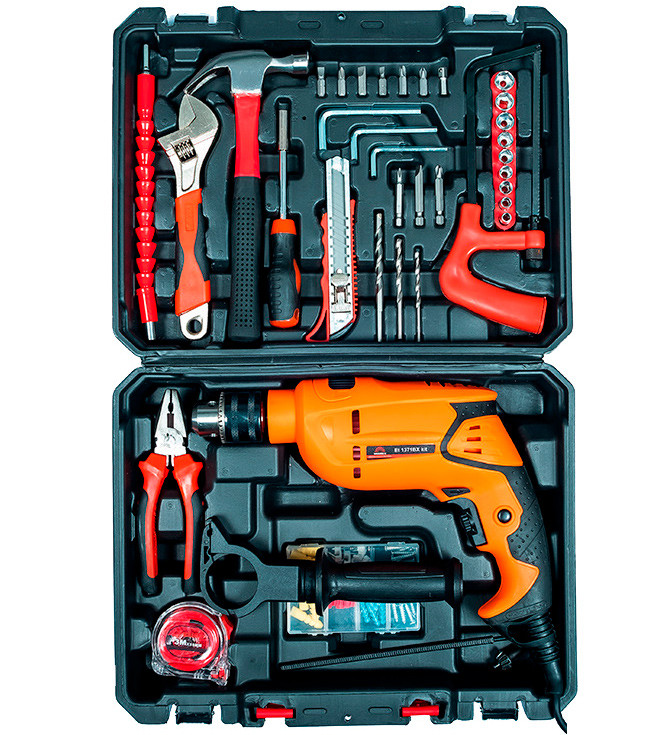 Дрель электрическая ударная Vitals Et 1371BXI + kit (набор инструментов)