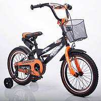 """Детский двухколесный велосипед  """"S600 HAMMER"""" Колёса 16''х2,4' Черно-оранжевый"""