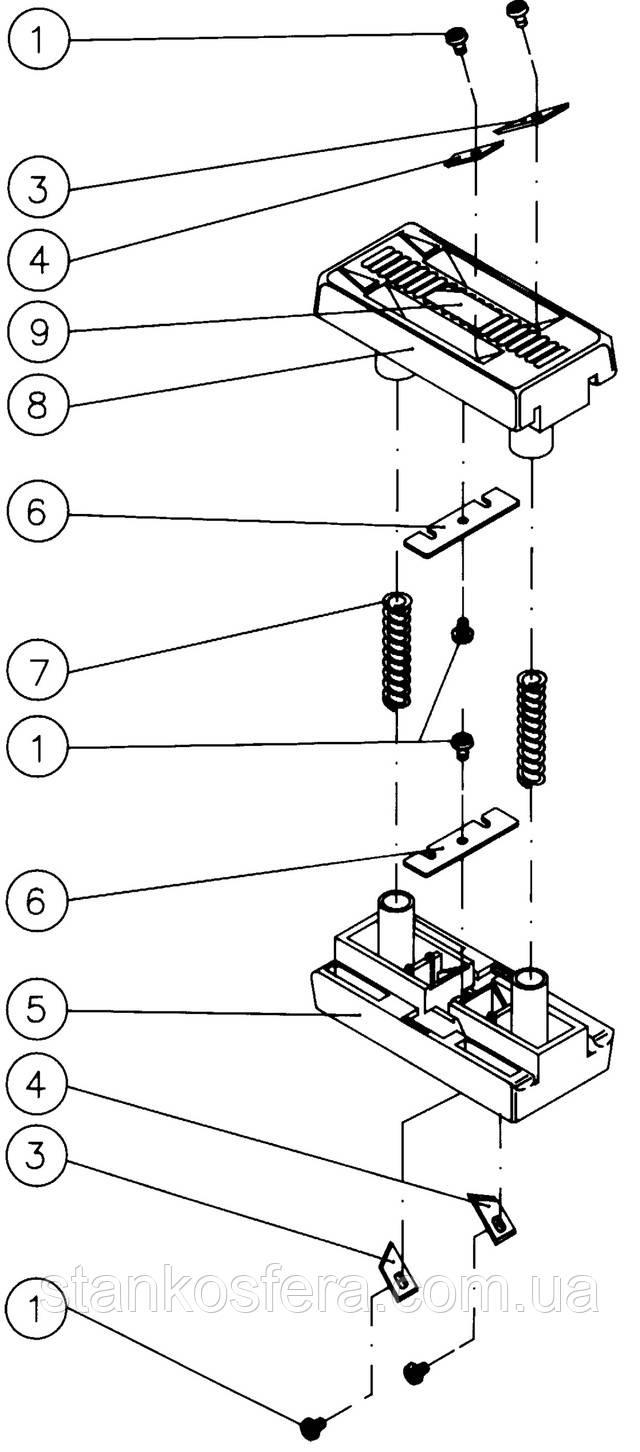 Virutex AU93 подрезатель кромки двойной продольный: конструкционная схема