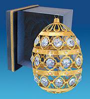 """Позолоченная фигурка """"Яйцо бол."""" в подарочной коробке с кристаллами Сваровски"""