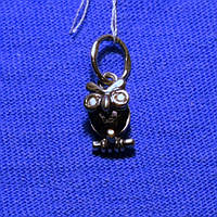 Кулон Сова из серебра с черным цирконием 4026ч, фото 1