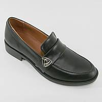 Туфли женские глубокие кожаные черного цвета
