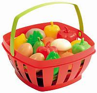 Игрушечная корзинка с фруктами и овощами